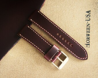 7b6f9c853b5 Horween chromexcel watch strap burgundy color 18 20 22 24mm leather watch  band for Omega Rolex Seiko Tudor Tissot Timex IWC Apple Watch etc.