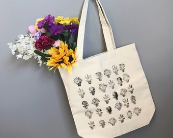Canvas succulent tote bag