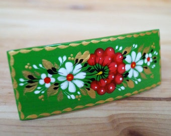 Hippie Gifts for women, Floral Painted hair barrette, Red, green wooden hairclip Petrykivka painting, Decor wood, Hair clip Hair accessories