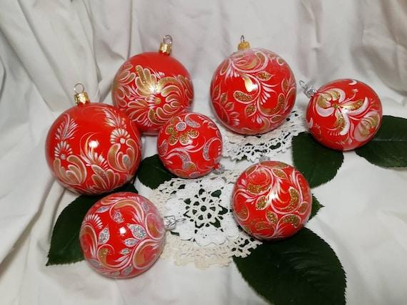 Christmas Ball Ornament Painted Ukraine Souvenir Red Tree Balls Ukrainian Gift Folk Floral Decor New Year 2019 Decoration Xmas Holiday