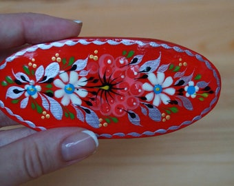 Barrette for women, Painted hair clip, Hippie gifts, Hair accessories, Red, green, blue wooden hairclip, Floral painting, Hair decor wood