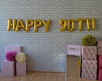 HAPPY 90TH BIRTHDAY 18 20 21 30 40 50 16 Rose Gold Silver Or Mylar Balloons Foil Letters Balloonanniversary Birthday Decoration
