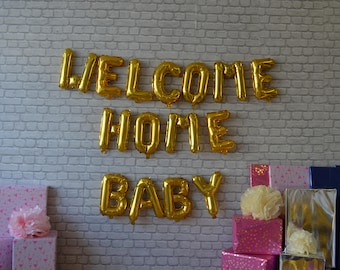 welcome home baby banner 16 rose gold silvergold foilmylar balloons new baby