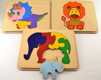 Set of 3 wooden puzzle Baby Toddler Toys Montessori toy Wooden Travel Busy board Animal Puzzles Elephants family Waldorf Gift Gifts Playroom