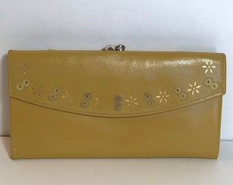 cbf5543525b5a3 Mid century Princess Gardner leather wallet, starburst details, embroidered  eyelets, mustard yellow, MCM
