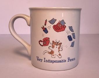 "Vintage 1985 Hallmark mug ""very indispensable person"""