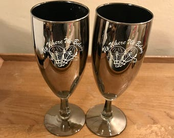 Hot air ballon silver and glass champagne flutes