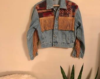 Zana Di 90's jean jacket with fringe