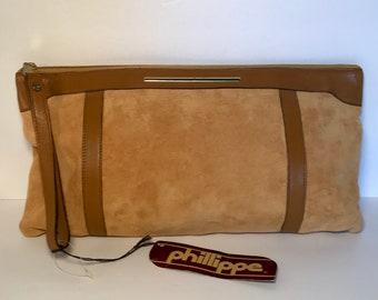 Vintage 70's deadstock Phillippe suede clutch purse