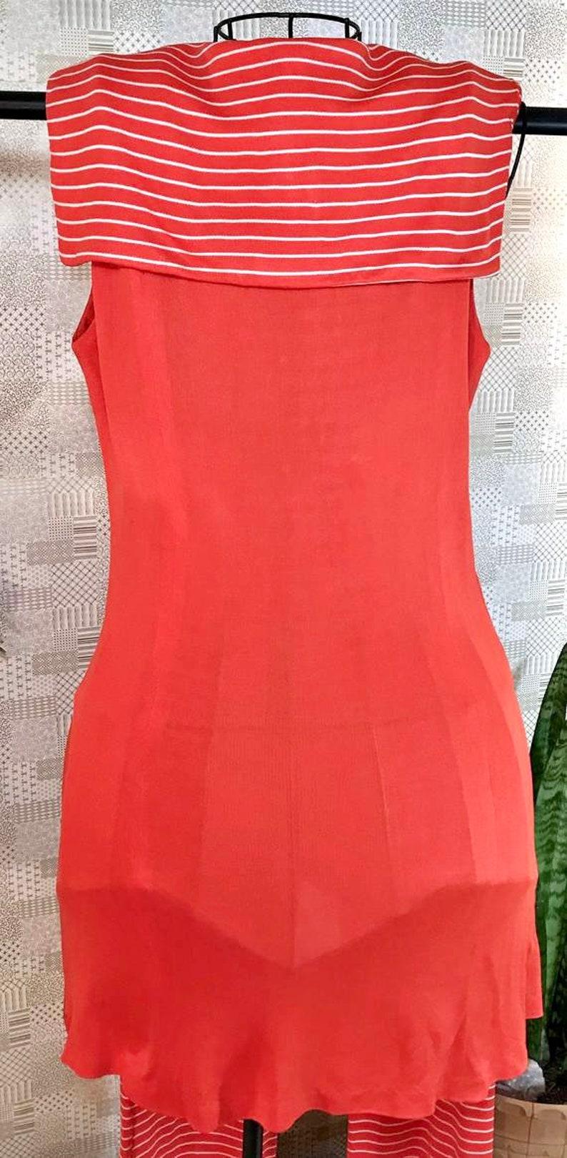 size 13 Mid century mod Jane Compton jumpsuit bright orange women\u2019s size mediumlarge 1960\u2019s sleeveless ILGWU stripes yolk collar
