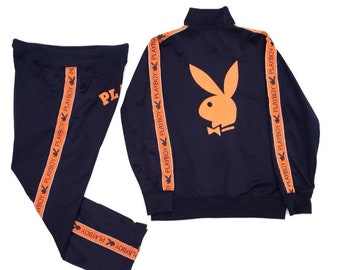 a8d4b39da1b Full Set Playboy Big Bunny Side Tape Sweater/Jacket & Playboy Pants With  Spell Out And Side Tape /Hypebeast Swagger