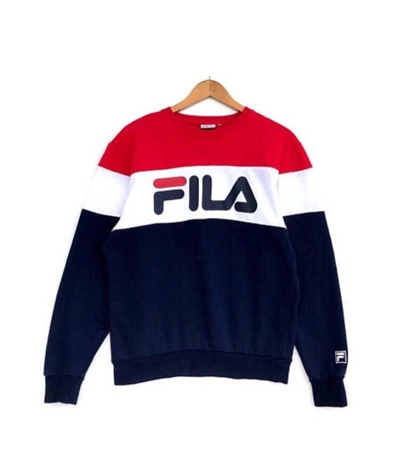 9ea324ab136fb RARE FILA Dylan Big Logo Colour Block Red White Navy Blue | Etsy