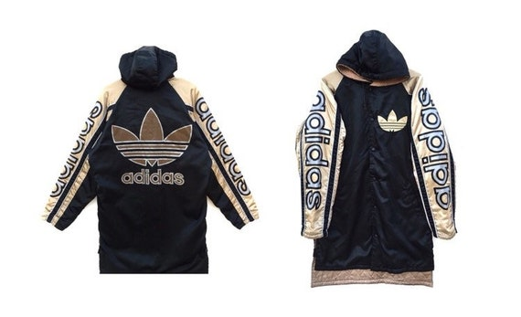 Limited Edition Vintage 80s ADIDAS Jacket Fleece Inside Big Logo Color Block Long jacket Hand Stripe Adidas Parkas hip hop swagger USA