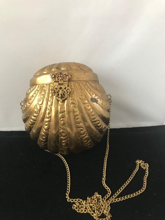 Vintage Victorian Art Nouveau Brass Pruse Blue/Pur