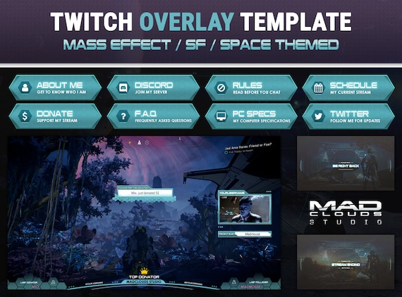 Mass Effect / SF / Space themed   Twitch Overlay Pack