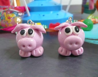"""Earrings """"PIGS ROSES"""" in Fimo"""
