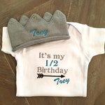 Half Birthday Outfit, Embroidered Outfit, Personalized Birthday Crown, Half Birthday Bodysuit, Baby Boy Clothes