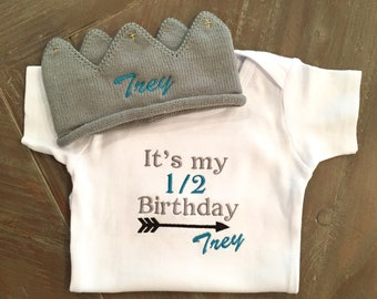 Half Birthday Outfit Embroidered Personalized Crown Bodysuit Baby Boy Clothes