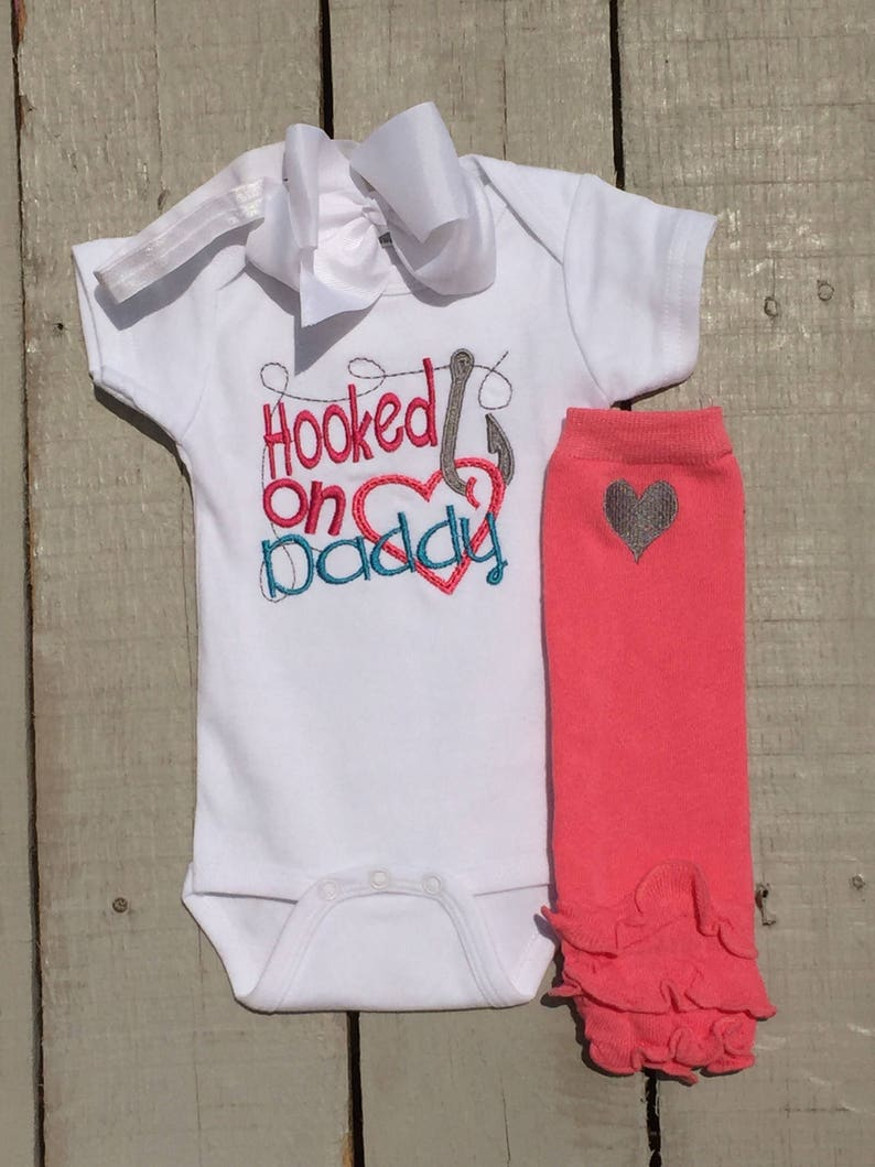 e9258cfa4 Baby Girl Clothes Hooked On Daddy Fishing Baby Bodysuit | Etsy