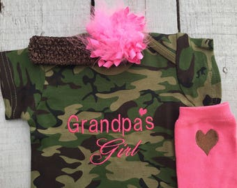 Baby Camo Girl, Camo Baby Outfit, Baby Girl Clothes, Grandpa's Girl, Hair Bow, Embroidered, Baby Shower Gift