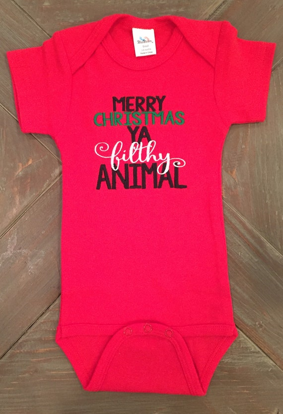 Black, 18 Months Festive Threads Unisex Baby Merry Christmas You Filthy Animal T-Shirt Romper