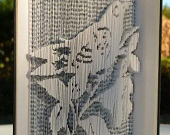 """Sculpture sur livre """"Un oiseau sur la branche"""" 3D"""