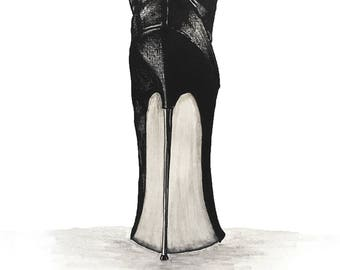 Black Stiletto Heel Original Canvas Drawing