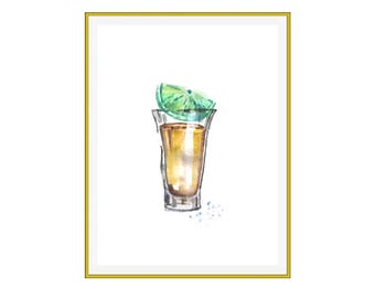 Tequila Shot Watercolor Print in Locally Sourced Vintage Frame