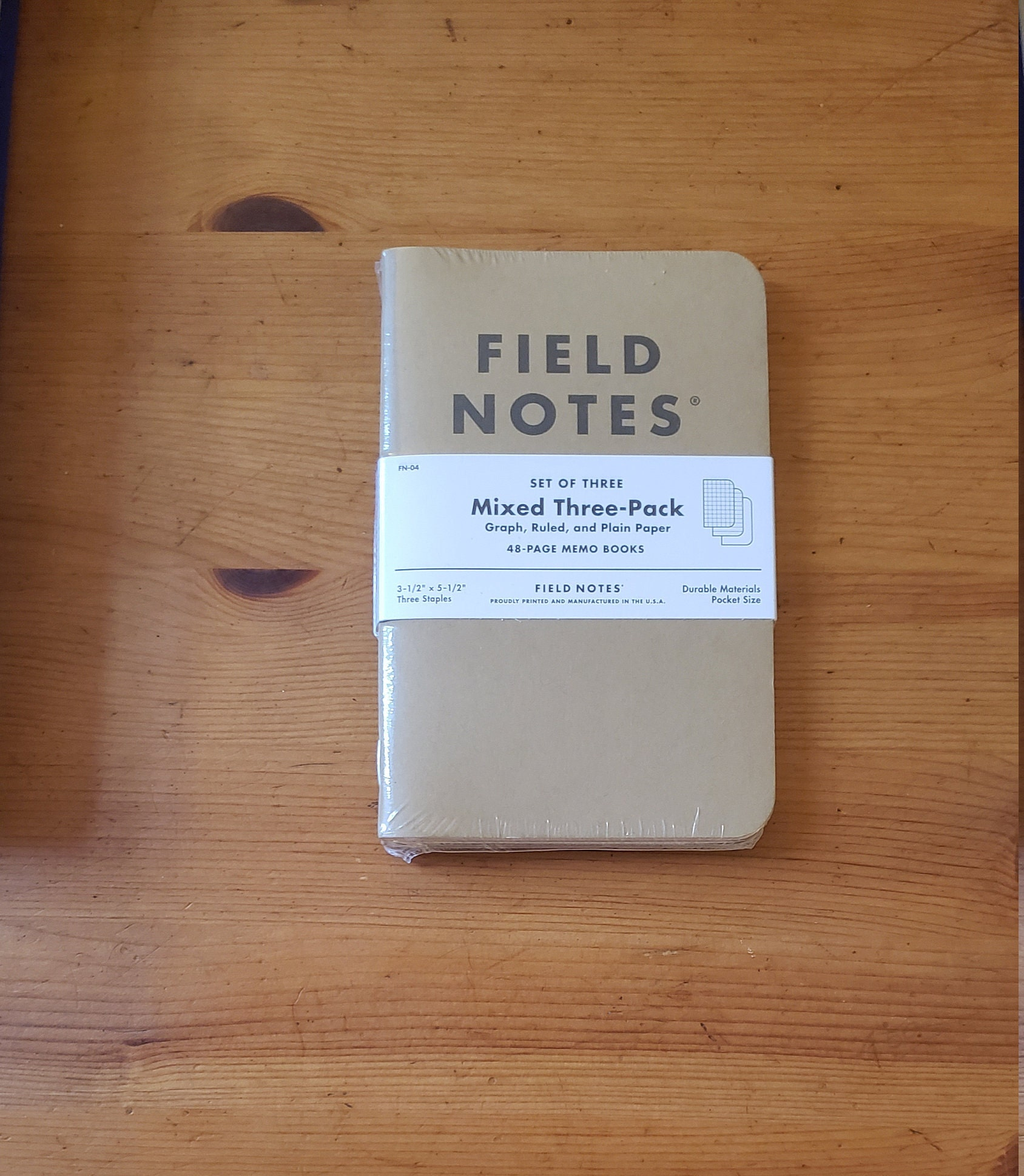 """3.5/""""x5.5/"""" Wood Field Notebook Pack of 5 Graph"""
