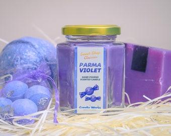 Parma Violet Gift Set - Jumbo & Mini Parma Violet Bath Bombs, Parma Violet Soap, Handmade Scented Candles, Gift