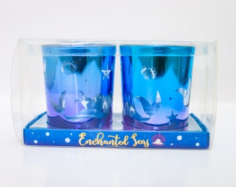 Enchanted Seas – Set of 2 Glass Tea Light Holders
