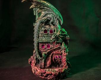 Dragon Castle LED Backflow Incense Burner - 6 Free Cones Included! Vegan Back Flow Incense Burner - Gift Idea