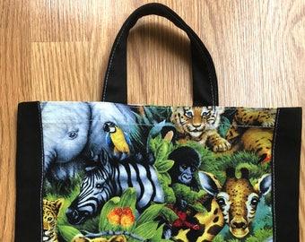 Handmade Zoo Animal Tote / Book bag