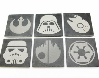 Star Wars Slate Coasters, Custom Coasters, Star Wars Fans - Set of 6 - FREE Shipping