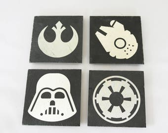 Star Wars Slate Coasters, Custom Coasters, Star Wars Fans - Set of 4