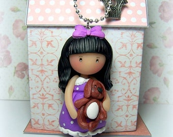 """Pendant necklace """"Lise and Oscar"""", clay (Fimo, Sculpey...)"""