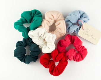 Mini Jellies Scrunchies, Small Soft Fleece Scrunchie, Fluffy Hair Accessories, Girly Hairstyle, Red, Pink, Blue, Green, Powder, White
