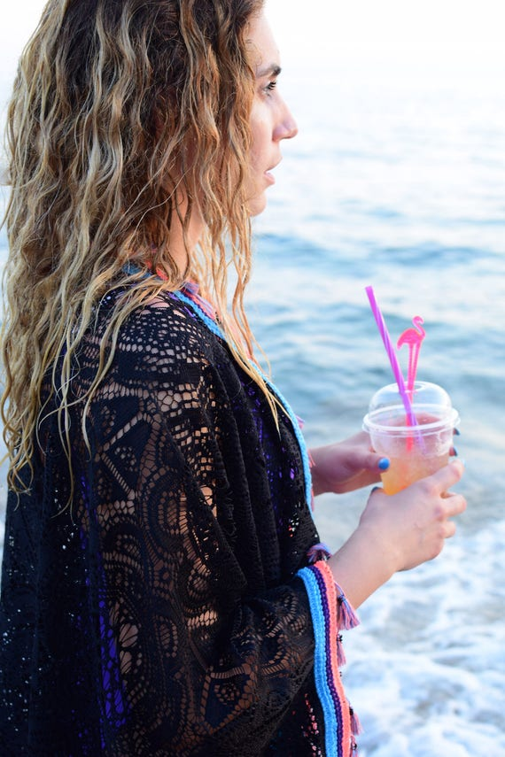 The Casual Limited Coral Black Choice Essential with Summer Best Beach touches Coral Lace and Kimono Black Caftan Summer qaBBtxnzOw
