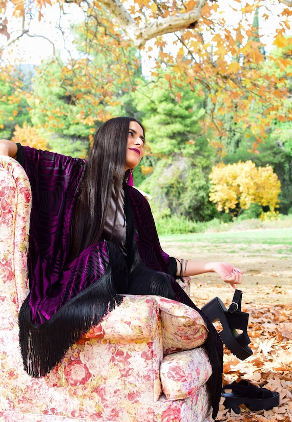 Sophisticated Velvet Feel Chic Dress Elegant with and Cape Handmade High Kimono quality the Purple RqEqfB4