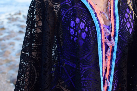Lace The Beach Summer Coral Essential Caftan Black Choice Best Black Summer touches with Coral and Kimono Casual Limited pS1qxqP