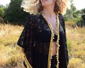 Shine Like Gold Feel Unique with The Gold Touch Cape Womens Beautiful Black Ethnic Lace Kimono Top Caftan Mini Length