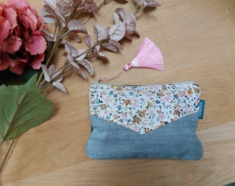 Jeans kit, flower canvas and pompom, makeup pouch or handbag