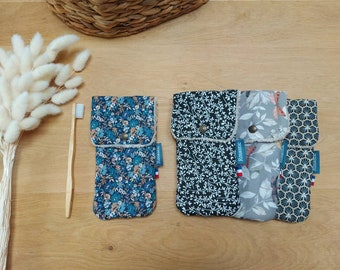 Toothbrush case, fabric and sponge, toothpaste pouch, zero waste, toiletry bag accessory