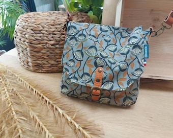 Canvas bag camel patterns, women's bag with leather shoulder strap, postman's bag