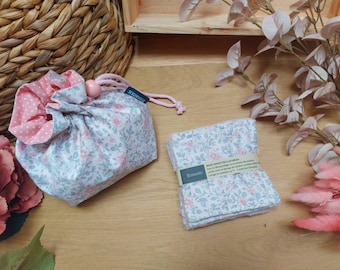 Pouch and wipes, pink fabric with flowers, storage cotton bathrooms, fabric pouch