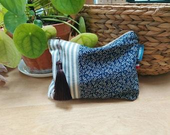 Floral blue canvas kit and pompom, make-up pouch or handbag