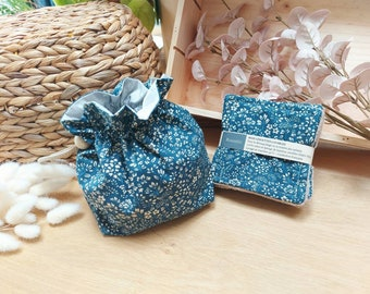 Pouch and wipes, blue floral fabric, storage cotton bathrooms, fabric pouch
