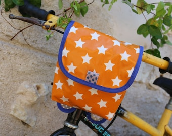 Bicycle and scooter child/baby stars border and orange bag bright blue