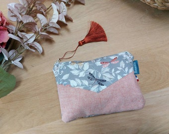 Dragonfly and pompom canvas kit, make-up pouch or handbag