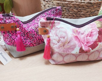 Bohemian pink toiletry bag, coated and leather interior fabric, women's gift